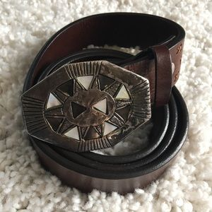 Vintage Leather Belt with Octagon Buckle (Western)